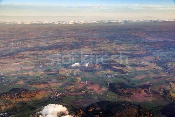 aerial of rural landscape with wind generators Stock photo © meinzahn