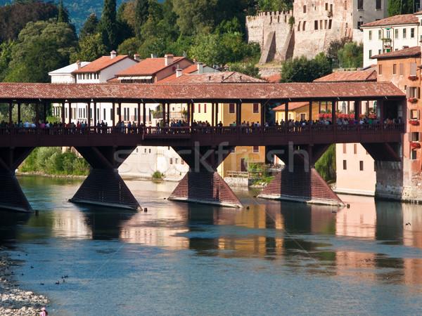 the old wooden bridge spans the river brenta at the romantic vil Stock photo © meinzahn