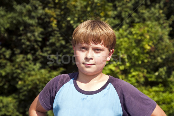 boy with sweating face after sport Stock photo © meinzahn