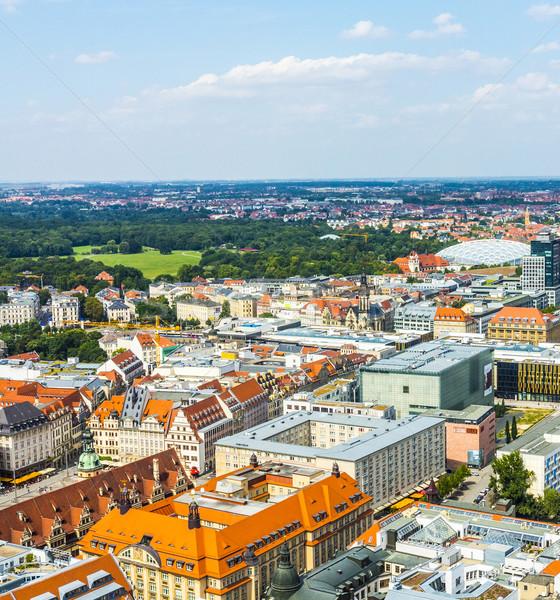 aerial view to city of Leipzig Stock photo © meinzahn