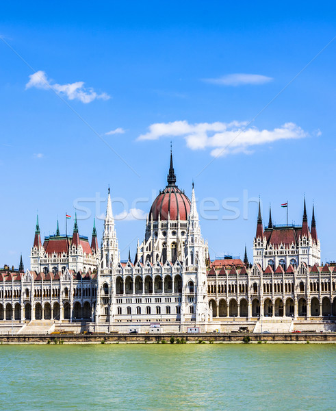 famous parliament of Hungary in Budapest, view over river danubia Stock photo © meinzahn