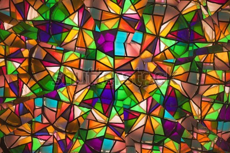beautiful colored glass windows with asymetric pieces Stock photo © meinzahn