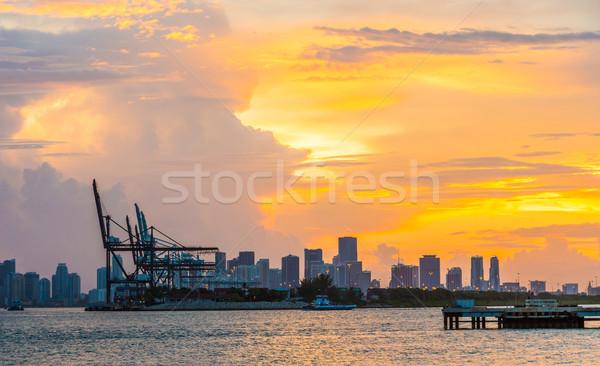 мнение Skyline Майами передний план закат город Сток-фото © meinzahn