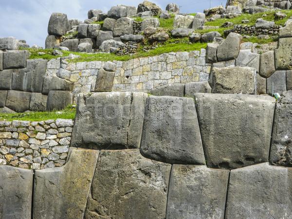 Ruínas Peru rochas pedras antigo fechar Foto stock © meinzahn