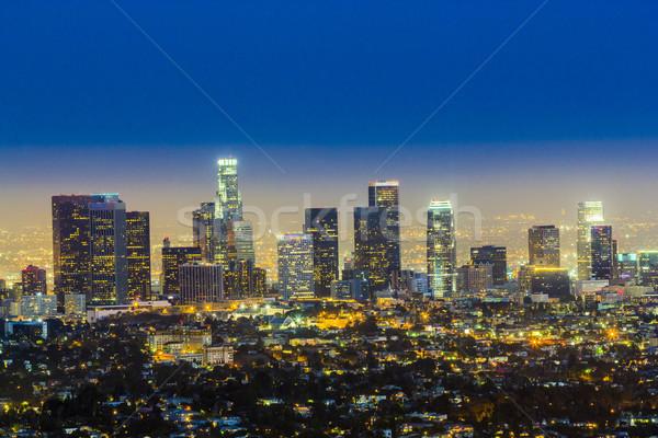 Linha do horizonte Los Angeles noite azul escuro céu Foto stock © meinzahn