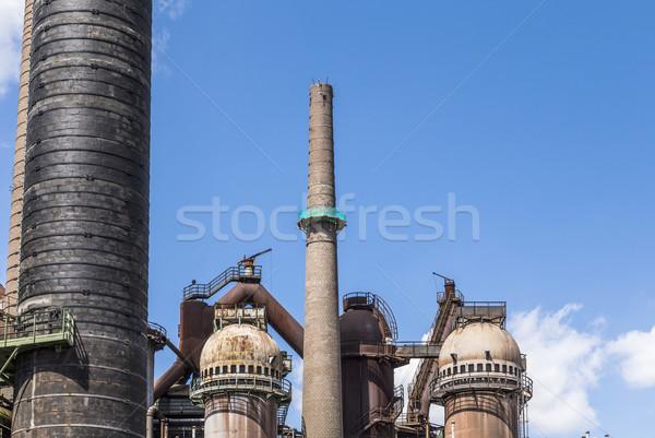 Stock fotó: Vasgyár · öreg · növény · fém · kék · ipari
