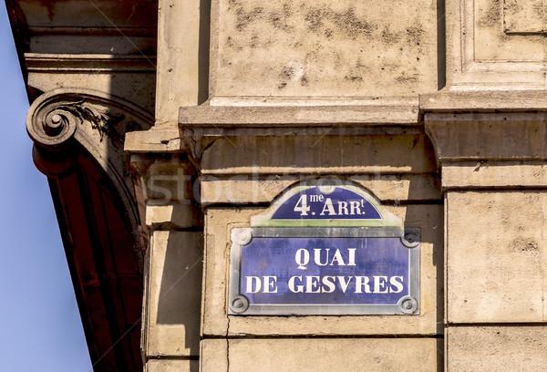 öreg jelzőtábla Párizs épület város felirat Stock fotó © meinzahn
