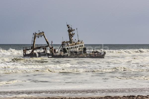 船 破壊 ビーチ 古い ストックフォト © meinzahn