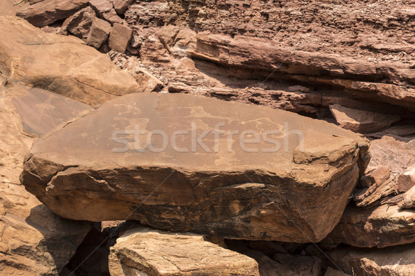 Bushman engravings in the granite rock, Twyfelfontein UNESCO Wor Stock photo © meinzahn