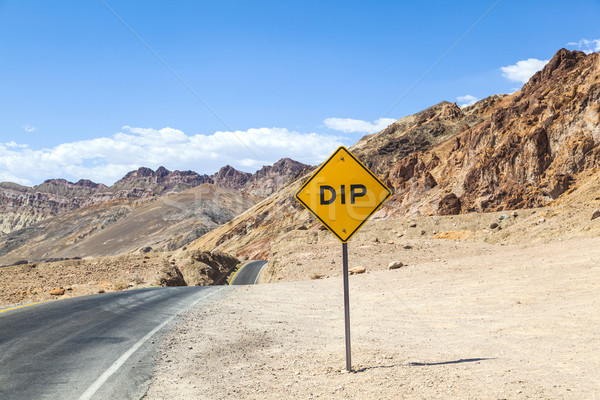 scenic road Artists Drive in Death valley with road sign DIP for Stock photo © meinzahn