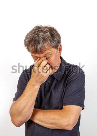 Portret geconcentreerde knappe man naar oplossing gelukkig Stockfoto © meinzahn