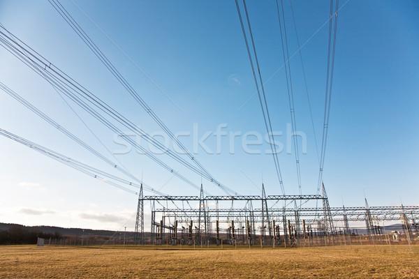 Elektromosság torony energia gyönyörű tájkép égbolt Stock fotó © meinzahn