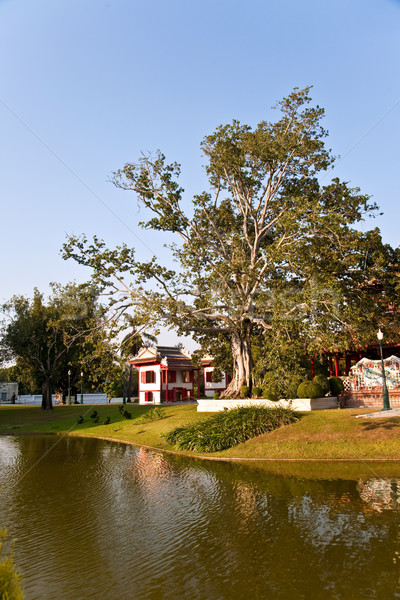 Gyönyörű épületek park durranás király Thaiföld Stock fotó © meinzahn