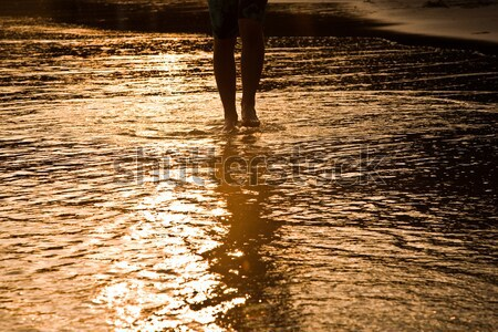 Marche homme eau plage rétroéclairage enfant Photo stock © meinzahn