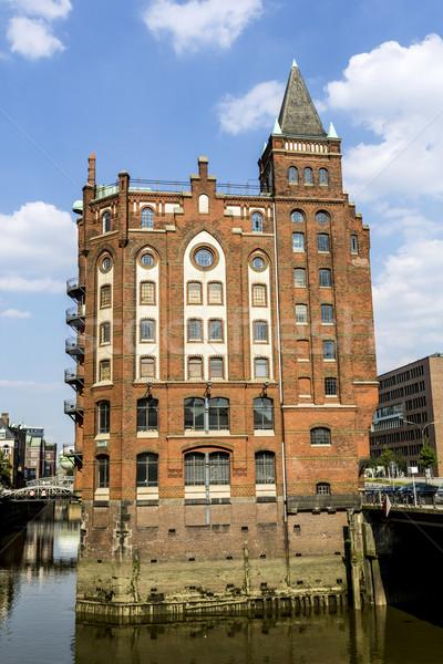 Vermelho casas hamburgo escritório edifício cidade Foto stock © meinzahn