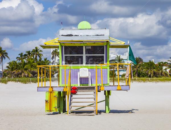 Vida torre praia sul Miami colorido Foto stock © meinzahn