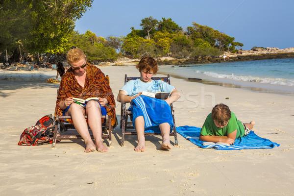 Család nap megnyugtató olvas könyvek gyönyörű Stock fotó © meinzahn