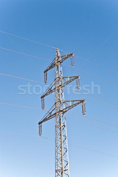 Eletricidade alta tensão torre blue sky construção natureza Foto stock © meinzahn