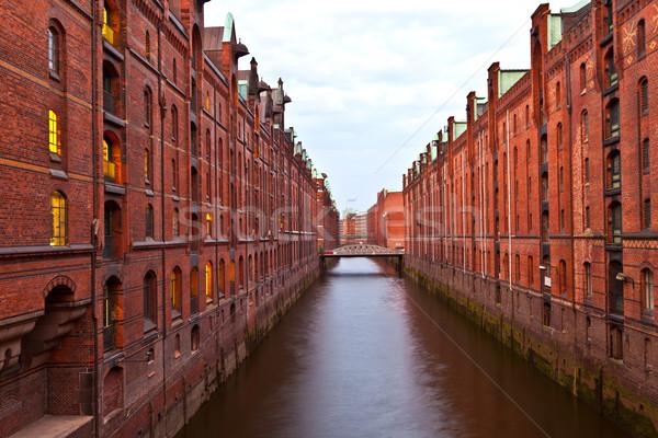 Hamburg nacht water stad abstract brug Stockfoto © meinzahn