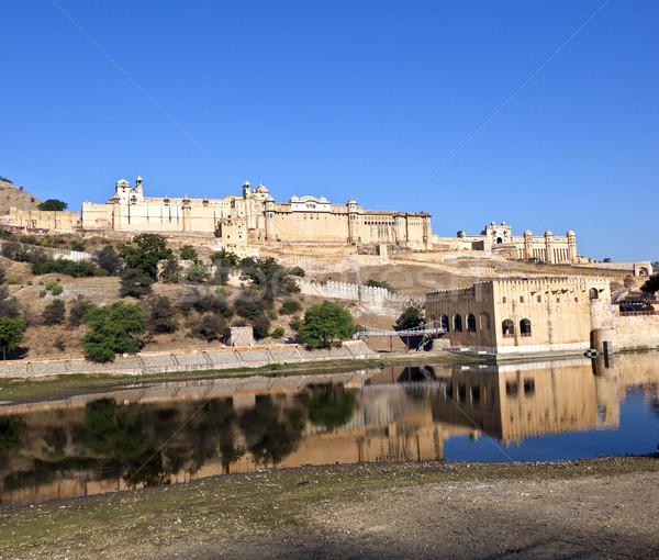 ünlü kehribar kale doku duvar turuncu Stok fotoğraf © meinzahn
