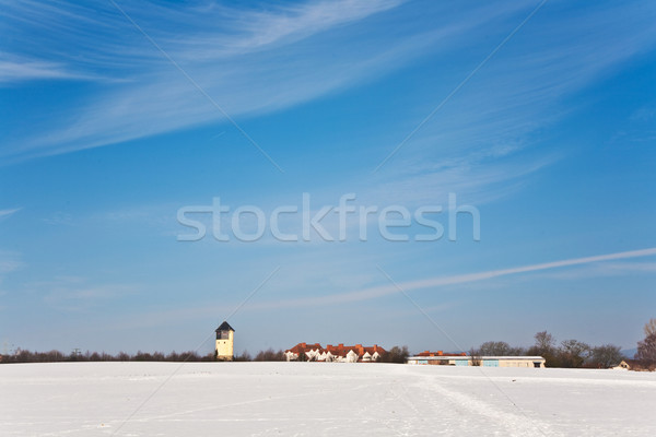 landscape with water tower and housing area in snow  Stock photo © meinzahn