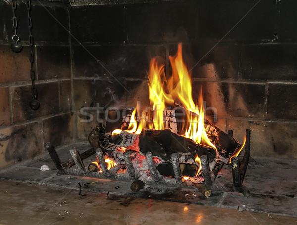 Surpreendente casa fogo quente sentimento luz Foto stock © meinzahn