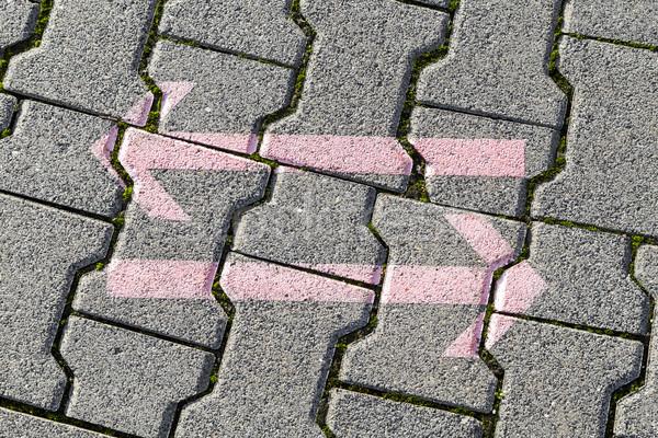 Nyilak szürke csempék láb út Stock fotó © meinzahn
