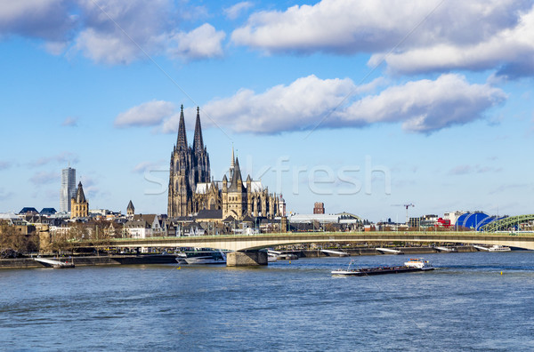 Cologne skyline with dome and bridge Stock photo © meinzahn
