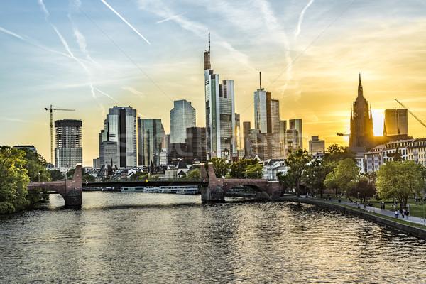 skyline of Frankfurt with river Main   Stock photo © meinzahn