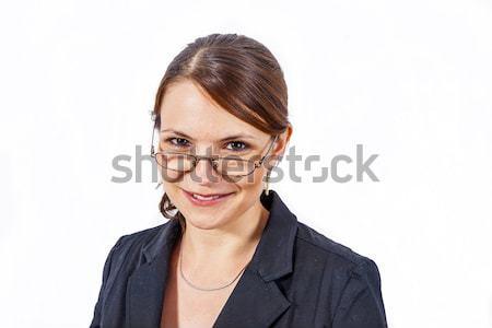 Közelkép fiatal gyönyörű nő olvasószemüveg fehér nő Stock fotó © meinzahn