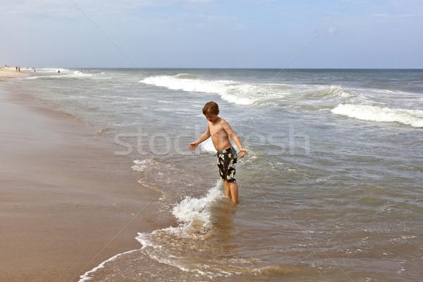 Cute мальчика весело бурный пляж улыбка Сток-фото © meinzahn