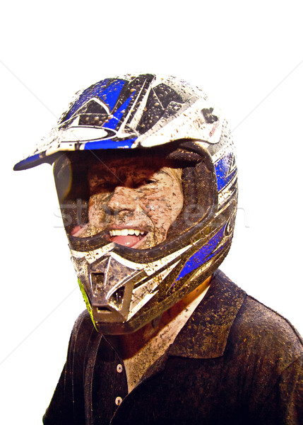 boy has dirt in his face from driving Quad Stock photo © meinzahn