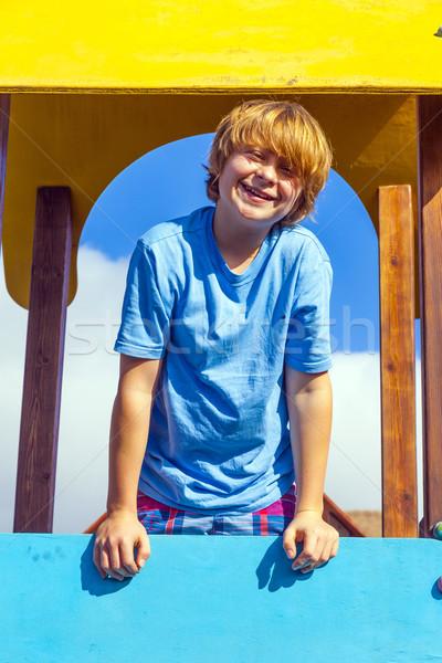 Retrato feliz adolescente recreio sorrir cara Foto stock © meinzahn