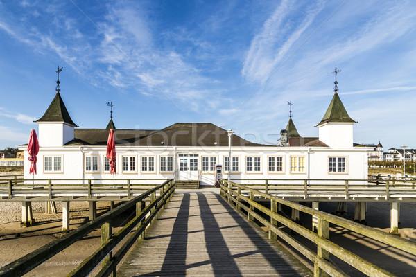Móló tengerpart Balti-tenger sziget égbolt építészet Stock fotó © meinzahn