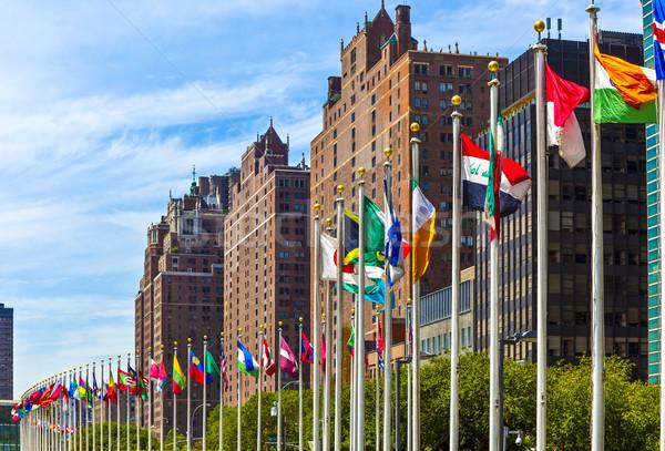 Zászlók UN New York Amerika épület város Stock fotó © meinzahn