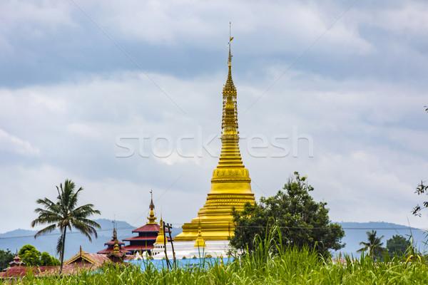 Dourado lago Mianmar céu asiático Ásia Foto stock © meinzahn