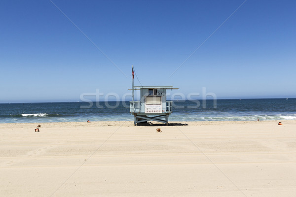 empty beach hut at empty beautiful beach in Redondo beach  Stock photo © meinzahn