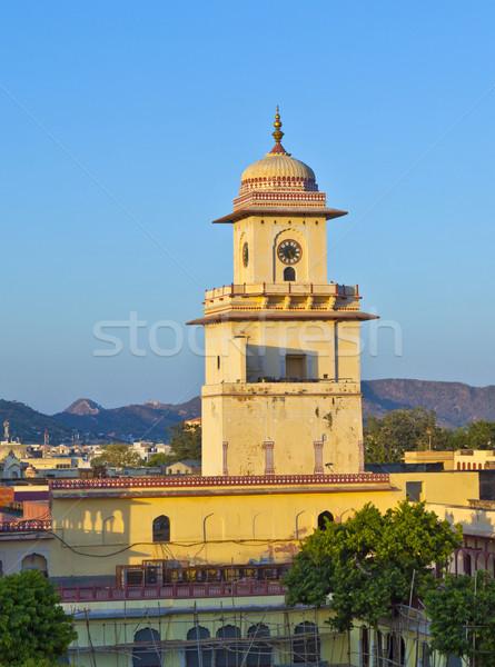 famous clocktower in Jaipur in sunset Stock photo © meinzahn