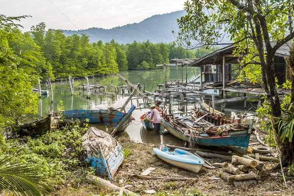 old abandoned fishermens village in Koh Chang Stock photo © meinzahn