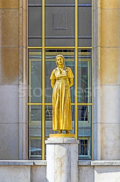 golden statue at Trocadero   Stock photo © meinzahn