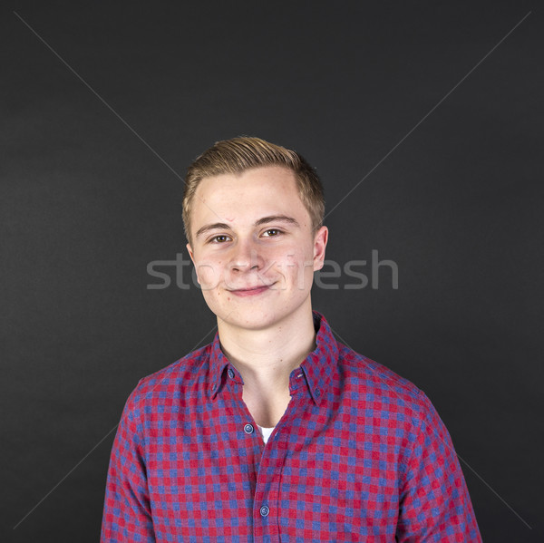 Portré aranyos mosolyog tizenéves fiú külső boldog Stock fotó © meinzahn