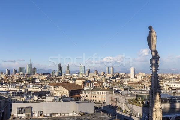 Sziluett Milánó híres katedrális kék ég Stock fotó © meinzahn
