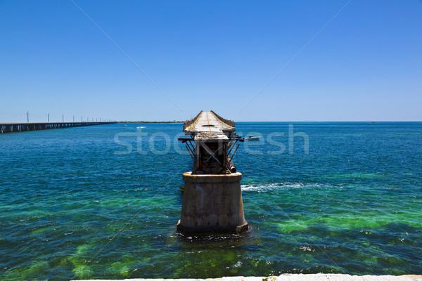 Oude rot brug strand natuur landschap Stockfoto © meinzahn