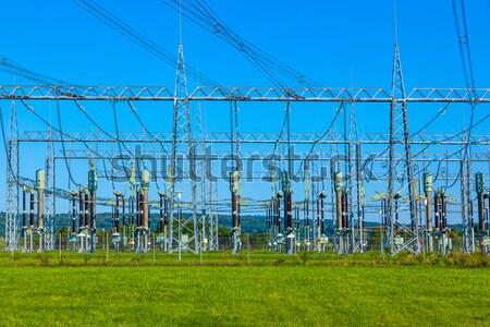Elektryczne elektrownia piękna kolorowy łące Zdjęcia stock © meinzahn