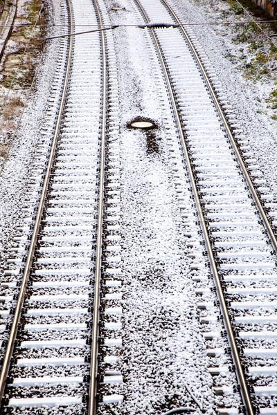 Nieve cubierto ciudad carretera calle belleza Foto stock © meinzahn