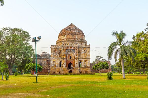 Kertek iszlám sír szett hirdetés Új-Delhi Stock fotó © meinzahn