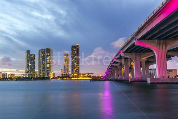 Miami panorama crepúsculo urbano arranha-céus Foto stock © meinzahn