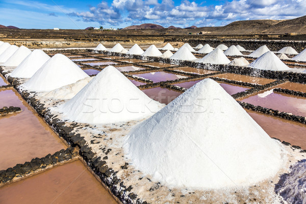 salt piles in the saline of Janubio in Lanzarote Stock photo © meinzahn