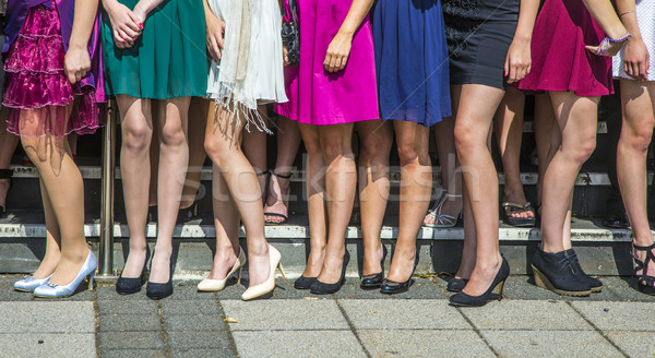 legs of girls posing for final ceremony at school Stock photo © meinzahn