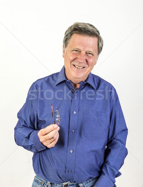 Volwassen man studio geïsoleerd witte portret Stockfoto © meinzahn